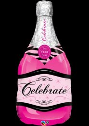 Inflated Hen Night Pink Champagne Bottle Balloon