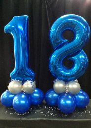 Metallic Blue Number 18th Birthday Balloon Set