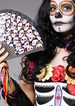 Day of The Dead Mexican Sugar Skull Fan