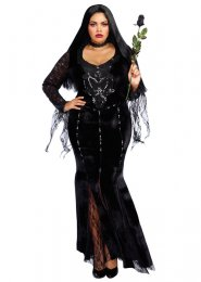 Plus Size Deluxe Black Sequin Morticia Style Costume