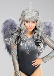 Magical Unicorn Grey Feather Angel Wings