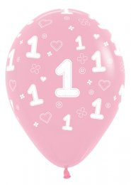 Pink 1st Birthday Party Balloons Pk5