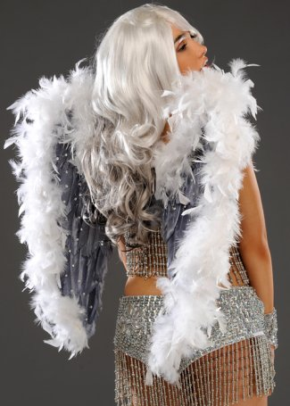 Deluxe Diamante White & Grey Stardust Festival Feathered Wings
