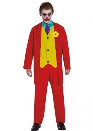 Mens Red The Joker Movie Style Costume