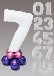White Mauve and Purple Large Number Balloon Centrepiece
