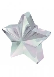 Iridescent White Star Helium Balloon Weight