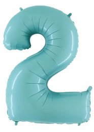 Mid-Size Pastel Blue Number 2 Inflated Helium Balloon on Weight
