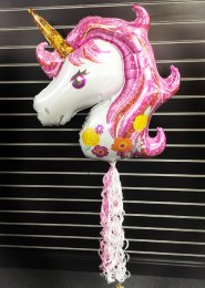 Inflated Pink Sparkly Unicorn Balloon With Tail
