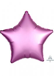 Inflated Flamingo Pink Satin Luxe Star Helium Balloon