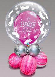 Inflated Bright Pink Baby Girl Bubble Balloon Centrepiece