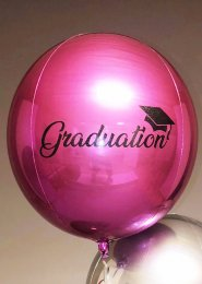Inflated Bright Pink Graduation Orbz Helium Balloon on Weight