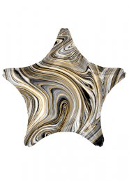 Inflated Black and White Marble Star Helium Balloon