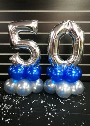 Mini 50th Silver Number Balloon Centrepiece Set