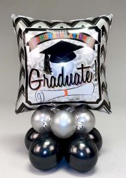 Silver and Black Graduation Inflated Balloon Centrepiece