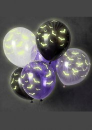 Halloween Glow In The Dark Bat Balloons Pk6