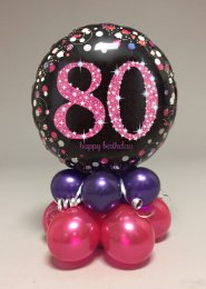 Black And Pink 80th Birthday Balloon Centrepiece