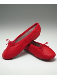 Red Leather Full Sole Ballet Shoes