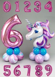 Pink and Turquoise Unicorn Number Balloon Centrepiece Set