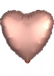 Inflated Rose Copper Satin Luxe Heart Helium Party Balloon