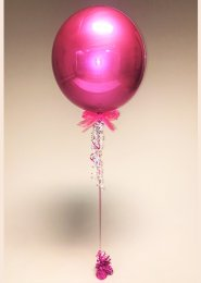 Inflated Bright Pink Orbz Sphere Helium Balloon with Bow