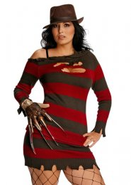 Plus Size Ladies Sexy Miss Freddy Krueger Costume