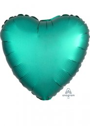 Inflated Jade Green Satin Luxe Heart Helium Balloon