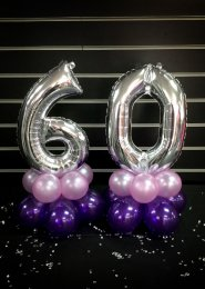 Mini 60th Silver Number Balloon Centrepiece Set