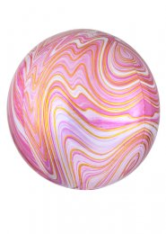 Inflated Pink and White Marble Orbz Helium Balloon