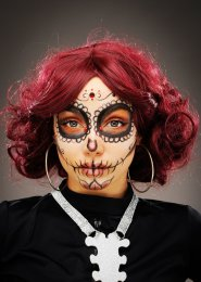 Womens Deluxe Day of The Dead Curly Burgundy Wig