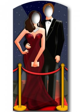 Hollywood Red Carpet Couple Stand In Cut Out