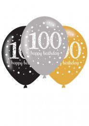 Black and Gold 100th Birthday Party Balloons Pk6