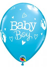 Inflated Bright Blue Baby Boy Helium Party Balloon