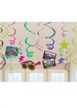 80s Theme Party Swirl Decorations Pk12