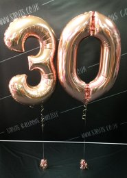 Metallic Rose Gold 30th Birthday Number Balloon Set