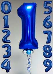 Blue Number Inflated Helium Balloon with Silver Collar and Base