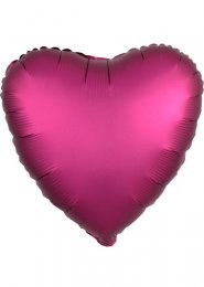 Inflated Pomegranate Pink Satin Luxe Heart Helium Balloon