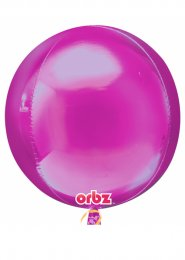 Inflated Metallic Bright Pink Orbz Sphere Helium Balloon