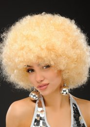 Womens 1970s Blonde Mega Afro Wig