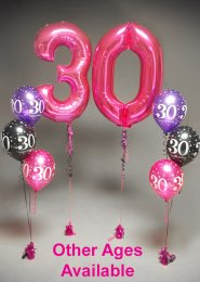 Inflated Large Pink Number Birthday Helium Balloon Set