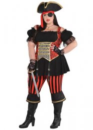 Womens Plus Size Striped Pirate Costume