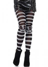 Womens Halloween Gothic Grey Striped Skull Tights