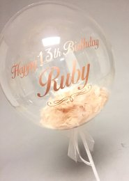 Personalised 13th Birthday Rose Gold Feather Filled Balloon