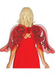 Gothic Devil Red Glitter Fallen Angel Wings