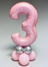 Pastel Pink and Silver 3rd Birthday Number Balloon Centrepiece