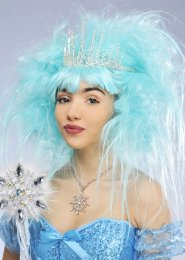 Deluxe Aqua Blue Snow Queen Wig with Tiara f8fd62c790f6