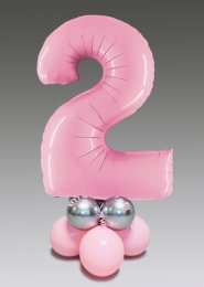 Pastel Pink and Silver 2nd Birthday Number Balloon Centrepiece
