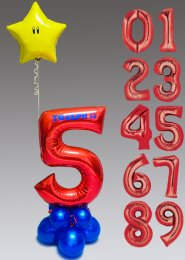 Personalised Super Mario Number Balloon Centrepiece with Star