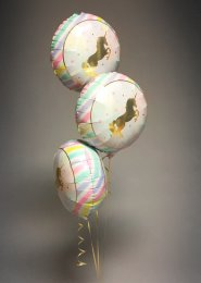Inflated 3 Pastel Unicorn Balloon Foil Cluster