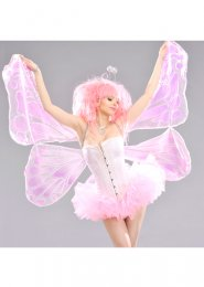 Womens Large Pink Fabric Butterfly Wings