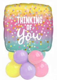 Pastel Rainbow Thinking of You Inflated Balloon Centrepiece